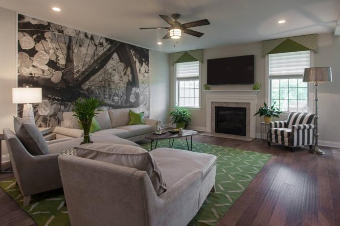 зеленый жесткий ламбрекен в гостиной