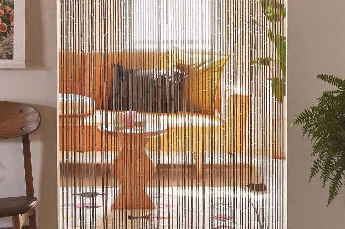 бамбуковые занавеси-нити в интерьере