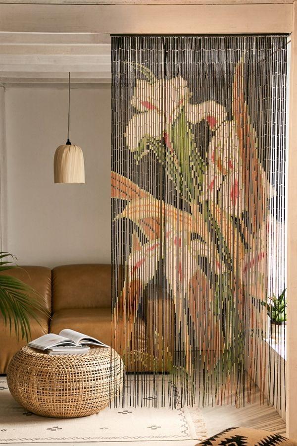 бамбуковые занавеси с цветами