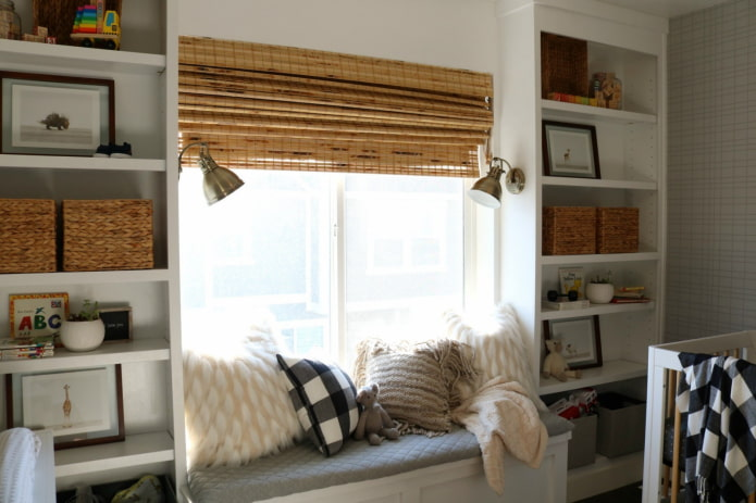 бамбуковые шторы цвета охра