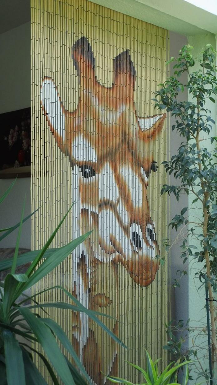 бамбуковые занавеси с изображением животных