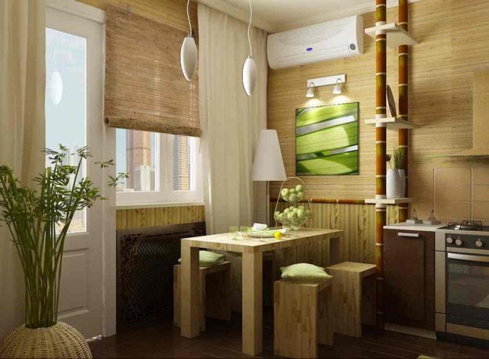 рулонные шторы из бамбука в эко-стиле