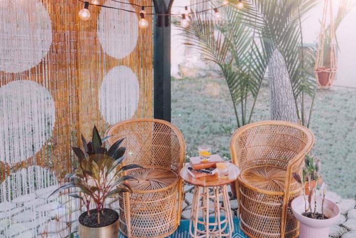бамбуковые занавеси палочками