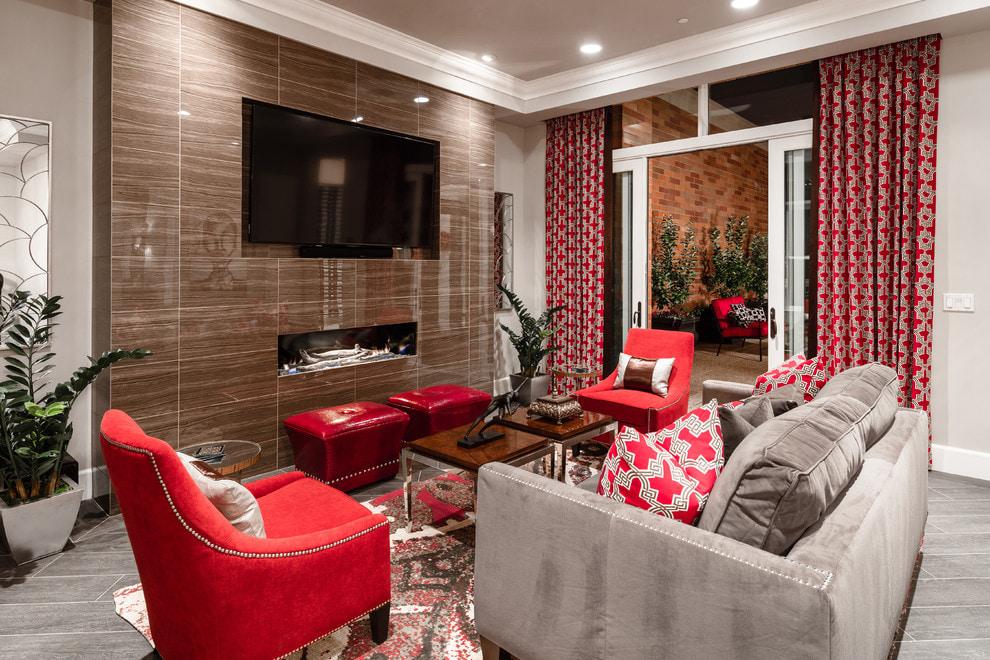 гостиная в серо красных тонах фото электростанции неоднократно использовался