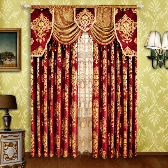 Красно-золотая штора