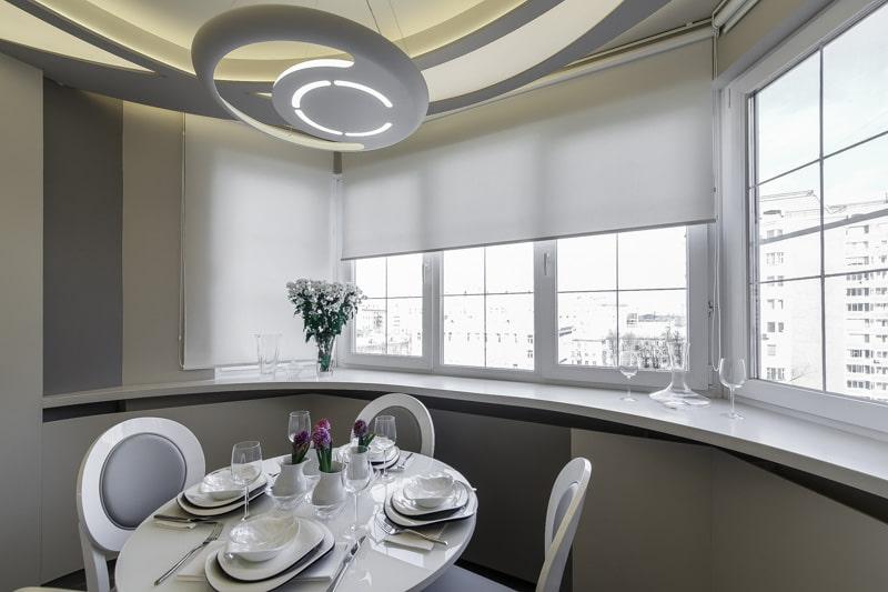 потолок на кухне с эркером фото радостью доставим, цветы