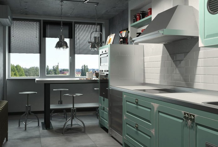 жалюзи черного цвета в интерьере кухни