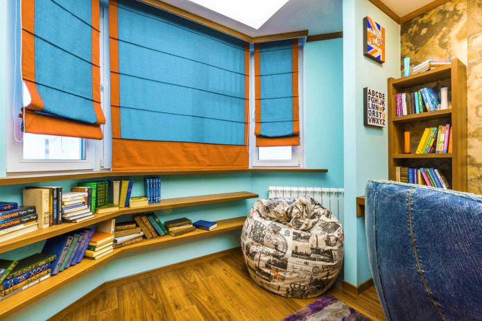 Оранжево-голубые шторы