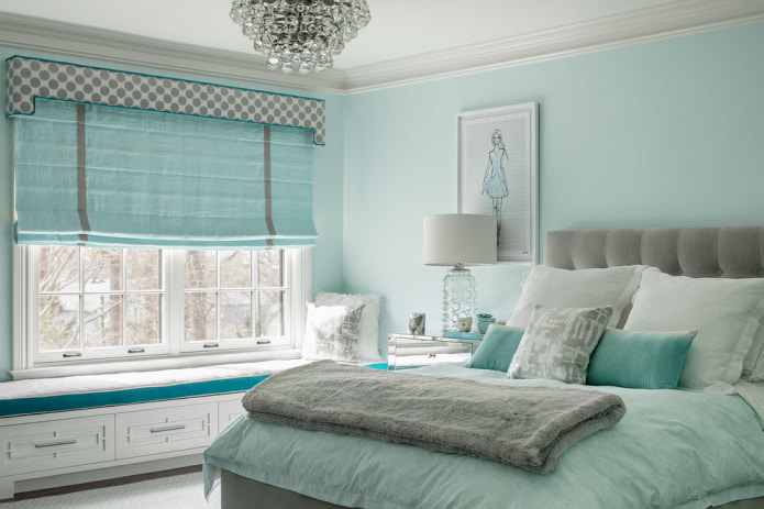 Серо-голубые шторы