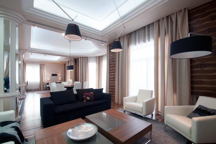 скрытый карниз со шторами в интерьере гостиной