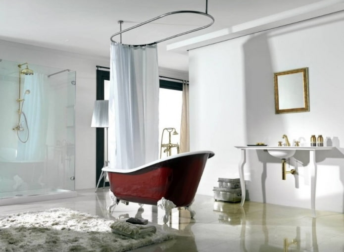 карниз со шторой в ванной комнате