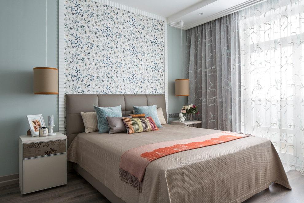 комбинирование обоев в спальне фото идеи день