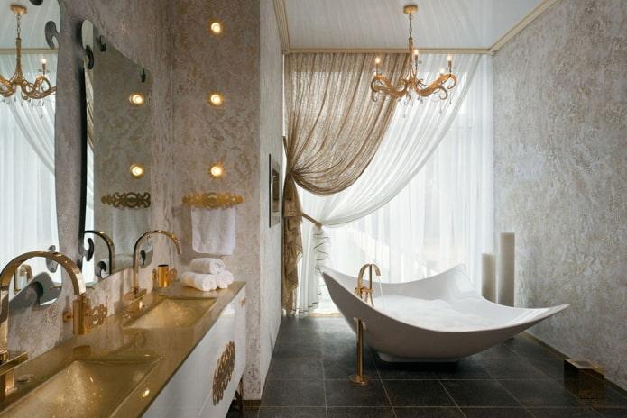двойная гардина в ванной