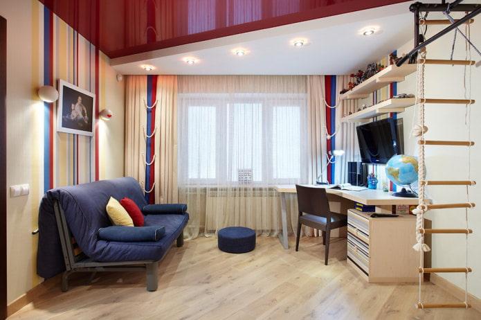 двухуровневый потолок из гипсокартона и натяжного потолка