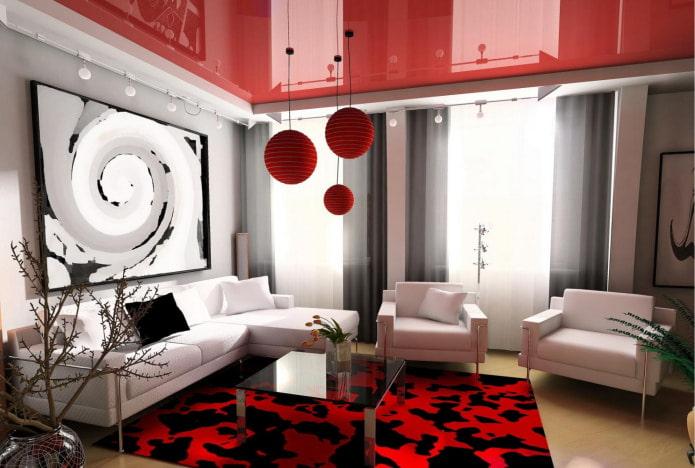 стильная гостиная с двухуровневым потолком