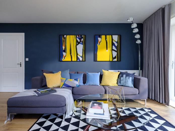 стильная гостиная в серо-синей палитре
