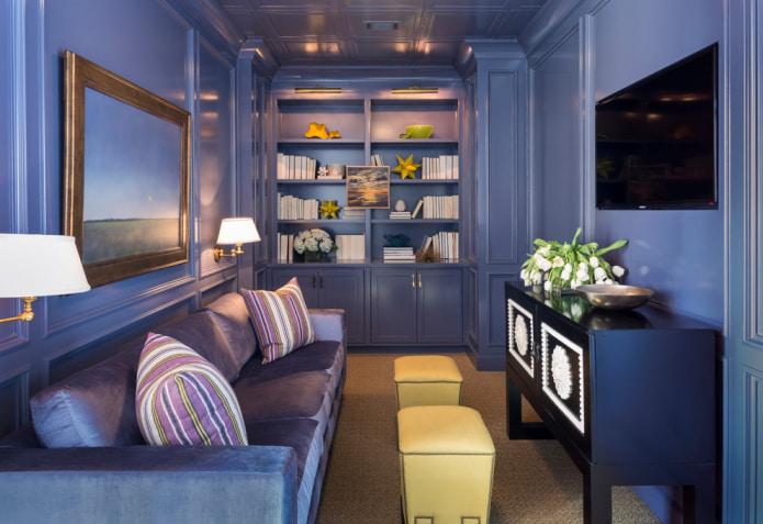 гостиная в пыльно-синем цвете