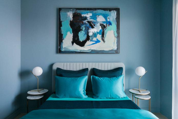 Сине-бирюзовая спальня
