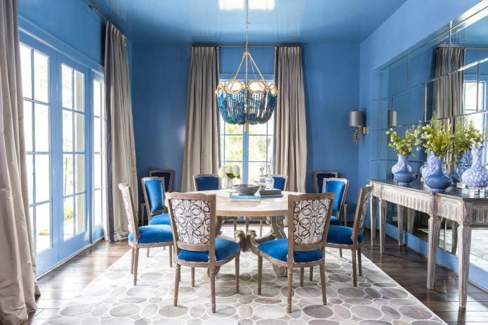 Сине-коричневая столовая