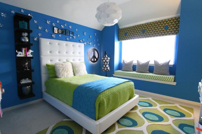 Сине-зеленый интерьер