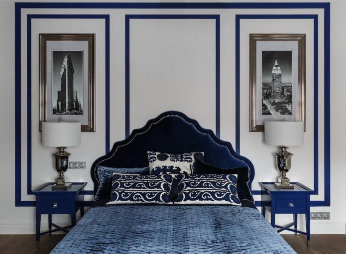 Бело-синяя спальня