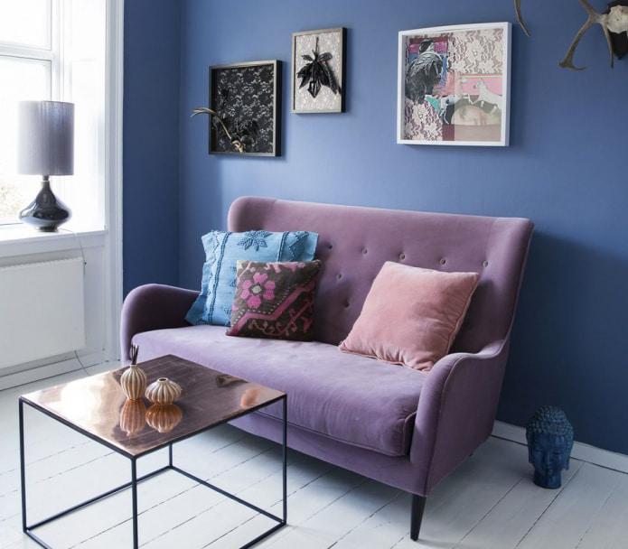 Сине-фиолетовый интерьер