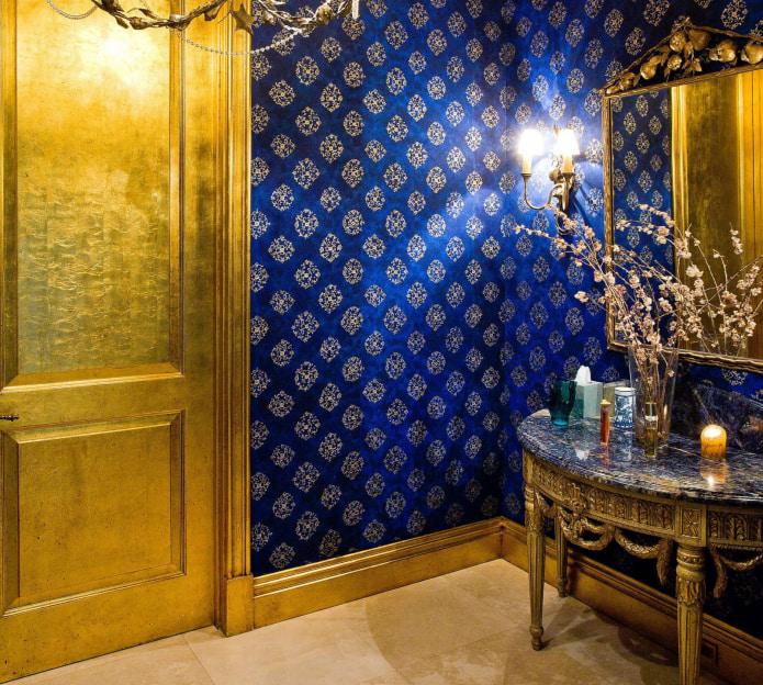 Сине-золотой интерьер
