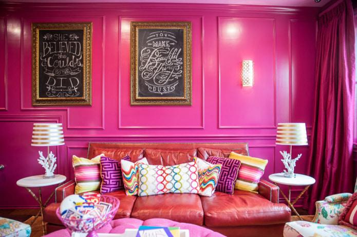 ярко-розовая гостиная
