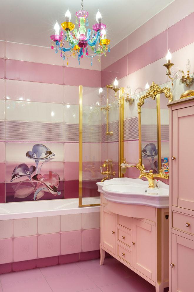 бело-розовая плитка