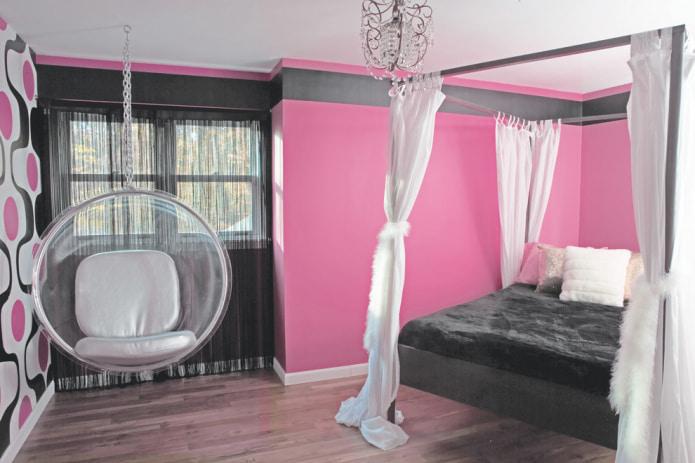 Черно-бело-розовая спальня