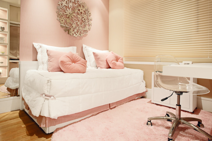 Бежево-розовая комната