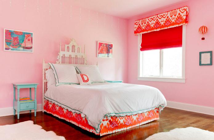 Розово-оранжевый интерьер