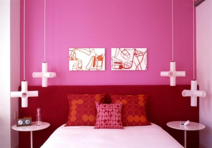 Розово-красная спальня
