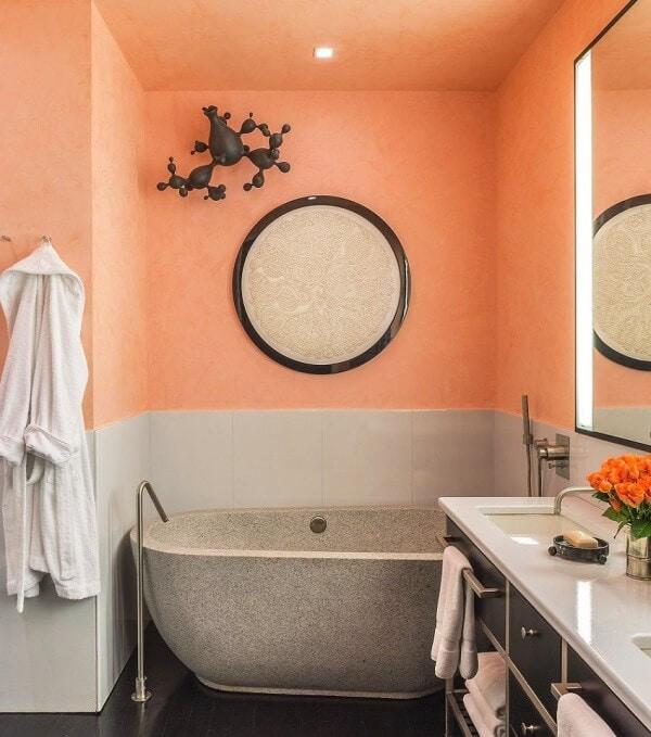 серо-персиковая ванная