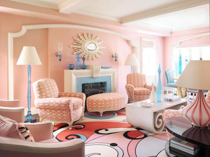 Персиково-голубая гостиная