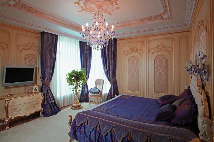 Персиково-фиолетовая спальня