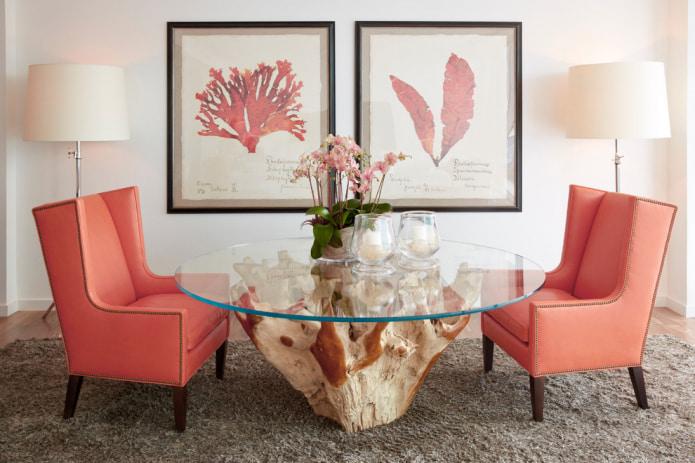 персиковые стулья