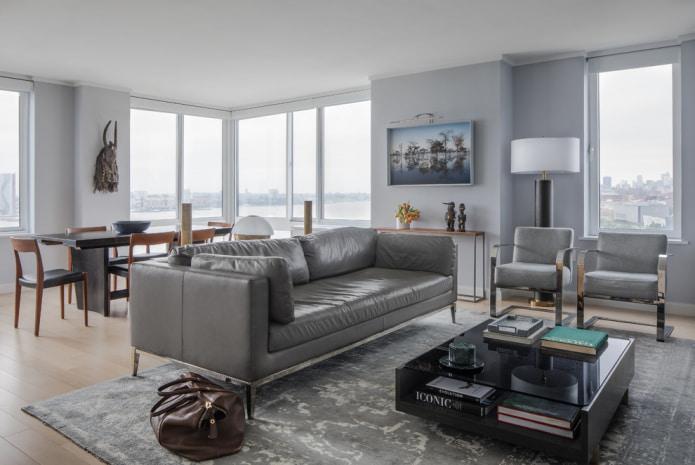 гостиная с кожаным диваном