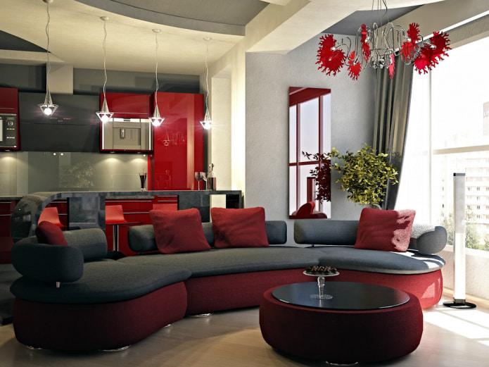 диван с красным текстилем и основанием