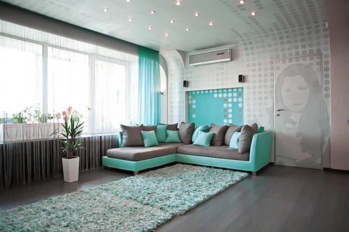 серо-бирюзовый диван