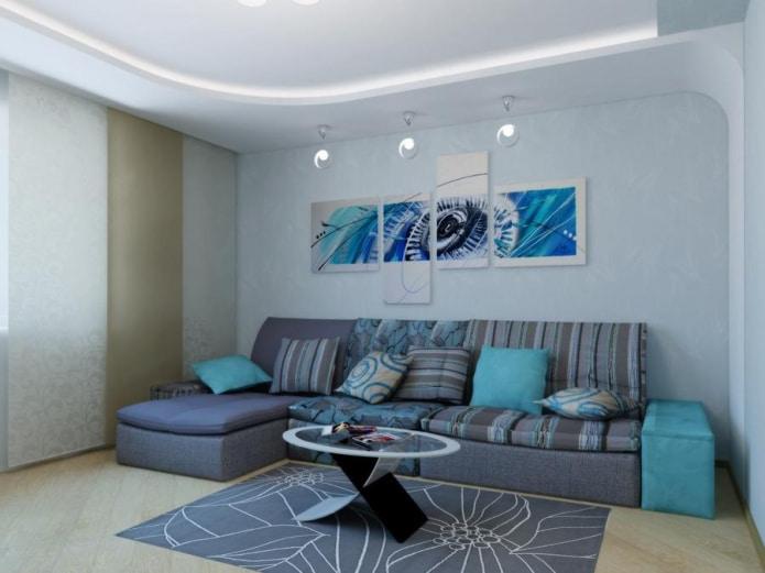 диван с голубым текстилем и подлокотниками