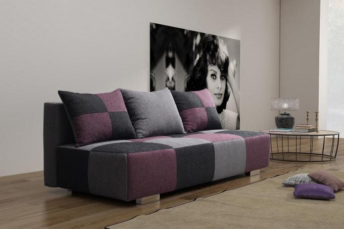 серо-фиолетовый диван