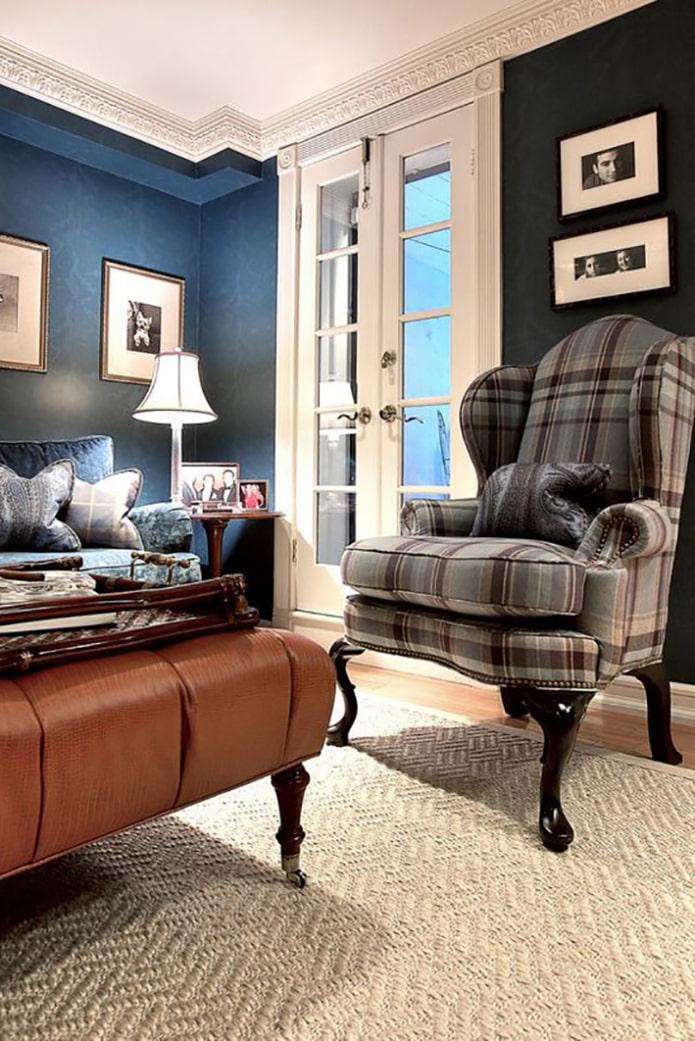 Синий в интерьере гостиной