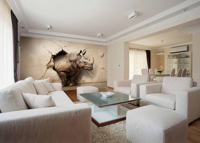 3д обои с носорогом в интерьере гостиной