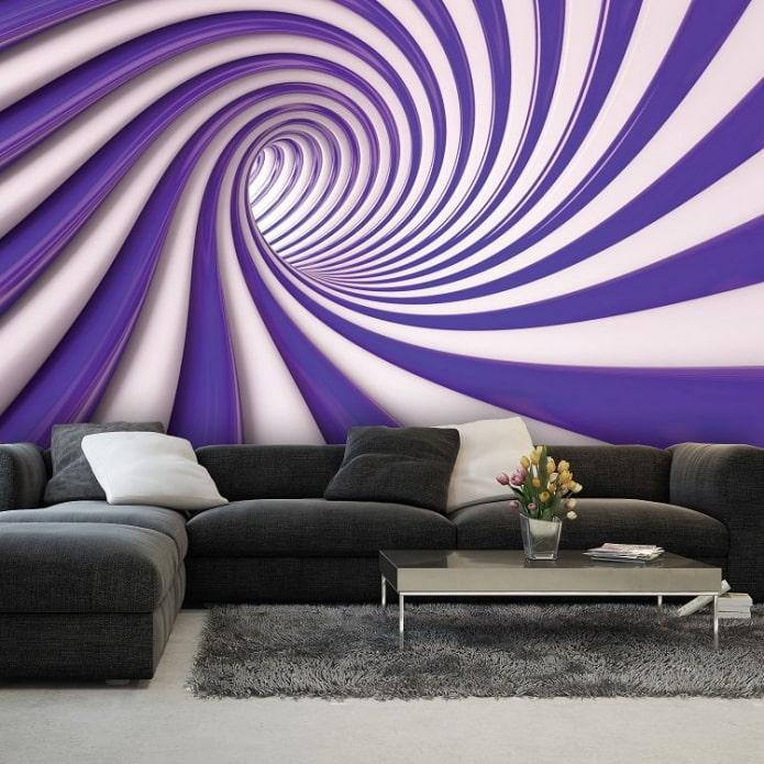 абстрактные 3д обои в гостиной