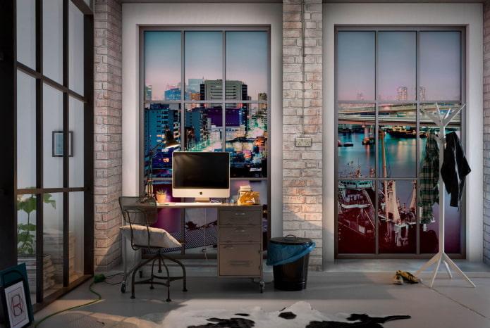 3д обои с видом из окна в кабинете
