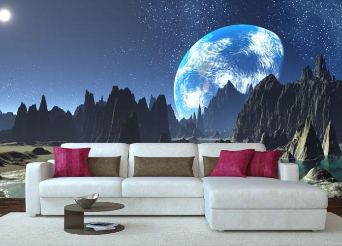 3д обои с изображением космоса в гостиной