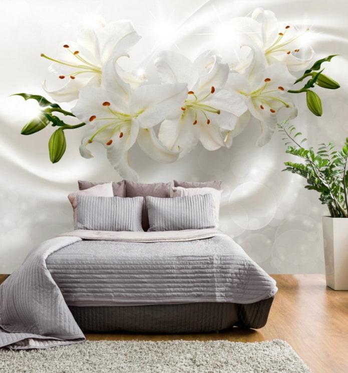 3д обои с цветами в интерьере спальни