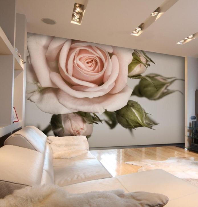3д обои с цветами в интерьере гостиной
