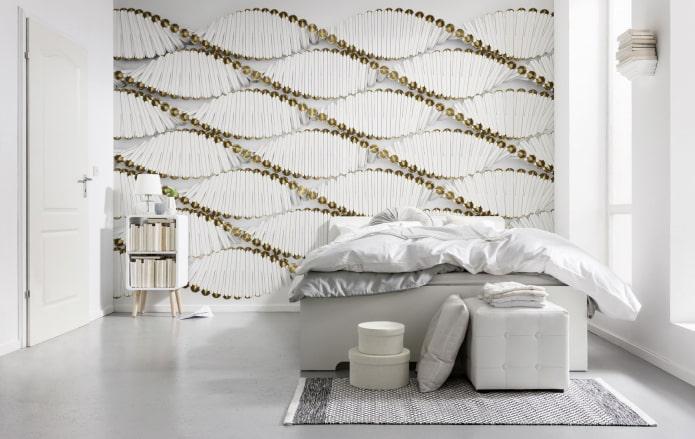 абстрактные 3д обои в спальне